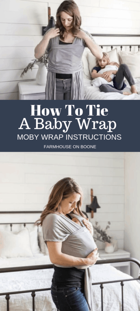 picture of women tying a baby wrap- moby wrap instructions
