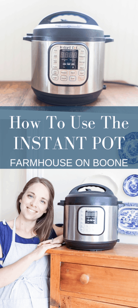 top pictures: Instant Pot sitting on a table, second picture: women standing next to a wood cabinet with the Instant Pot on top
