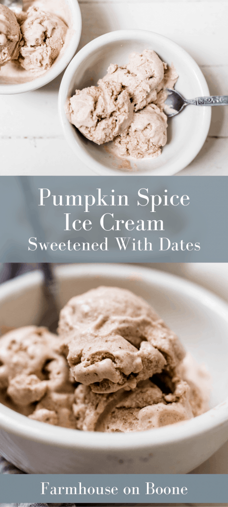 two pictures of pumpkin spice ice cream in white bowls with spoons