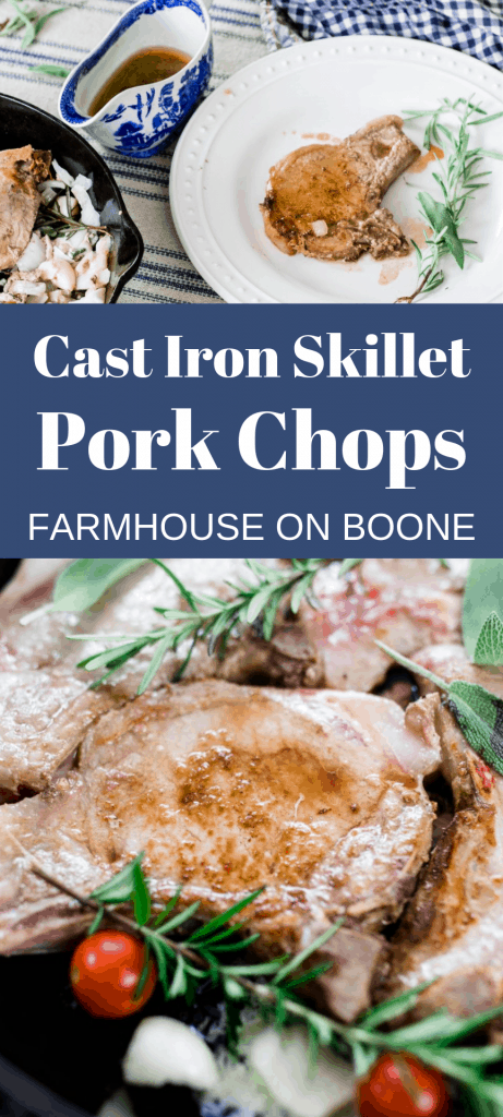 two pictures of cast iron skillet pork chops with herbs