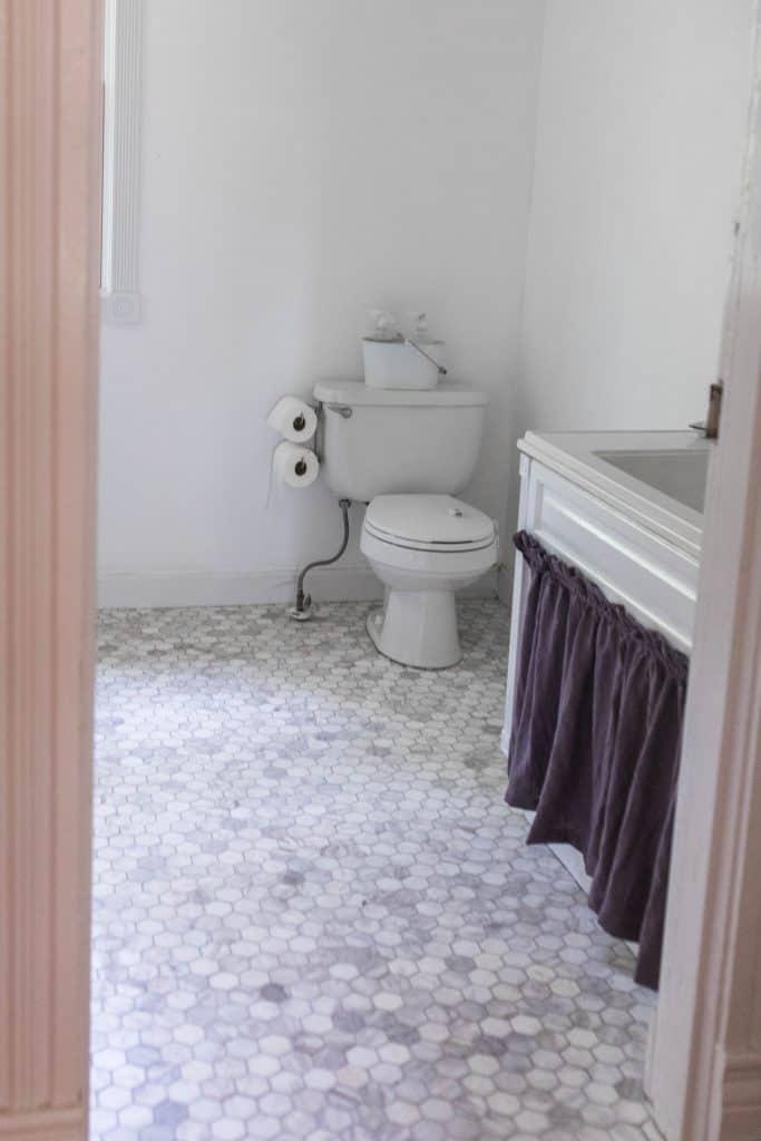 Farmhouse Bathroom Makeover New Marble Tile Floor Farmhouse On Boone