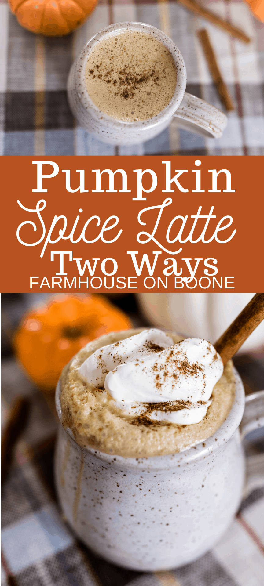 two pictures of homemade pumpkin spice lattes topped with pumpkin spice with pumpkins behind