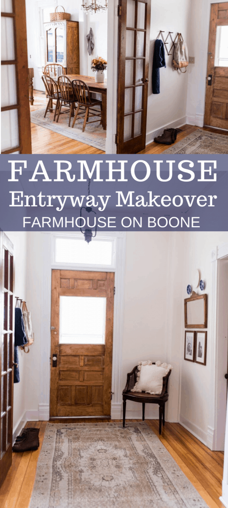 two pictures of a farmhouse entryway makeover complete with antiques and original doors