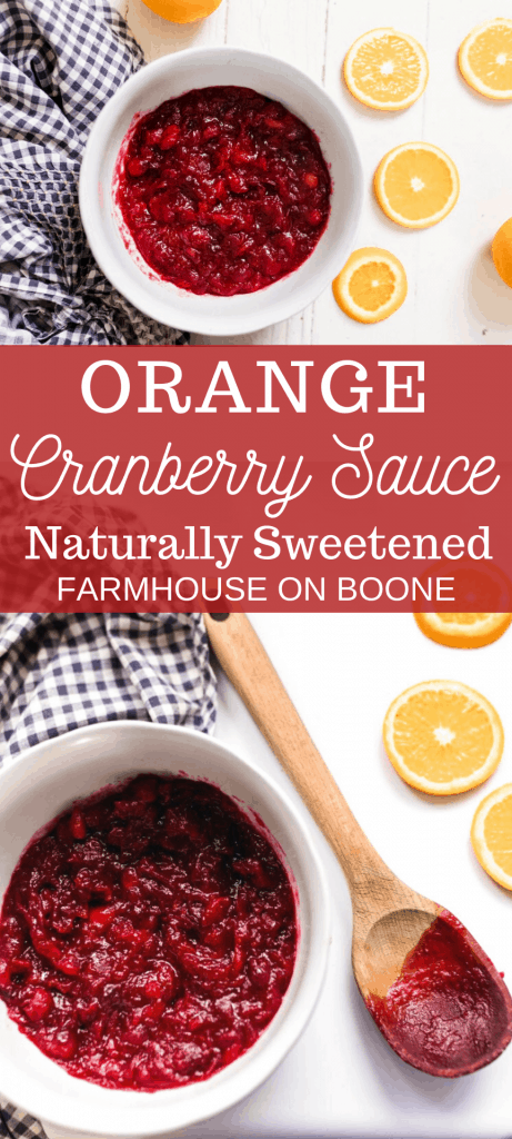 two pictures of orange cranberry sauce recipe in white bowls