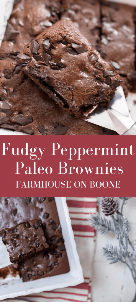 Fudgy Peppermint Paleo Brownies - Farmhouse on Boone