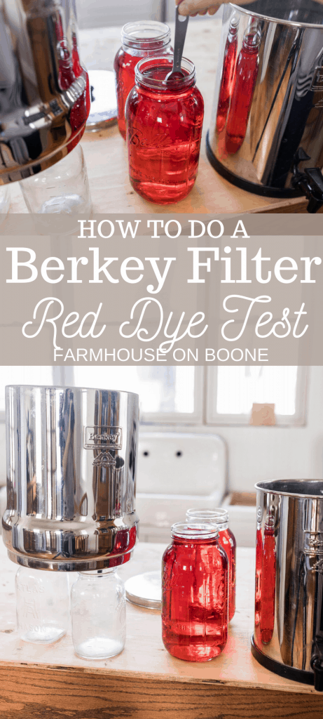 two pictures of red dye in half gallon mason jar with a Berkey Water filter to perform a Berkey red dye test.