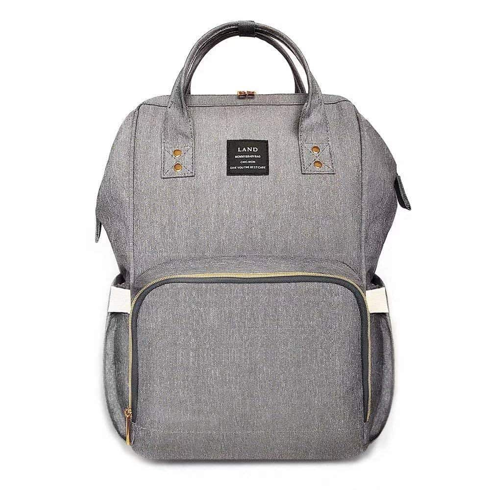 Large gray diaper bag back pack with handles