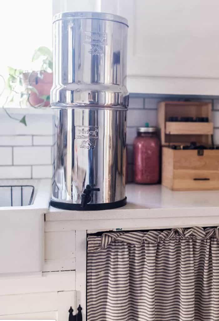 Berkey water filter installed on a kitchen countertop