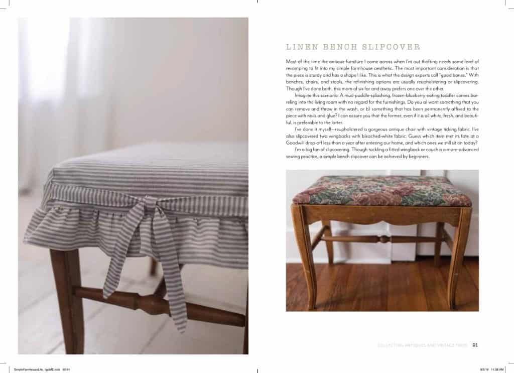 Linen bench slipcover