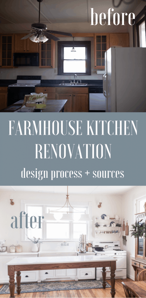 Victorian Farmhouse kitchen with white cabinets, a long wooden table topped with quarts and brass light fixtures