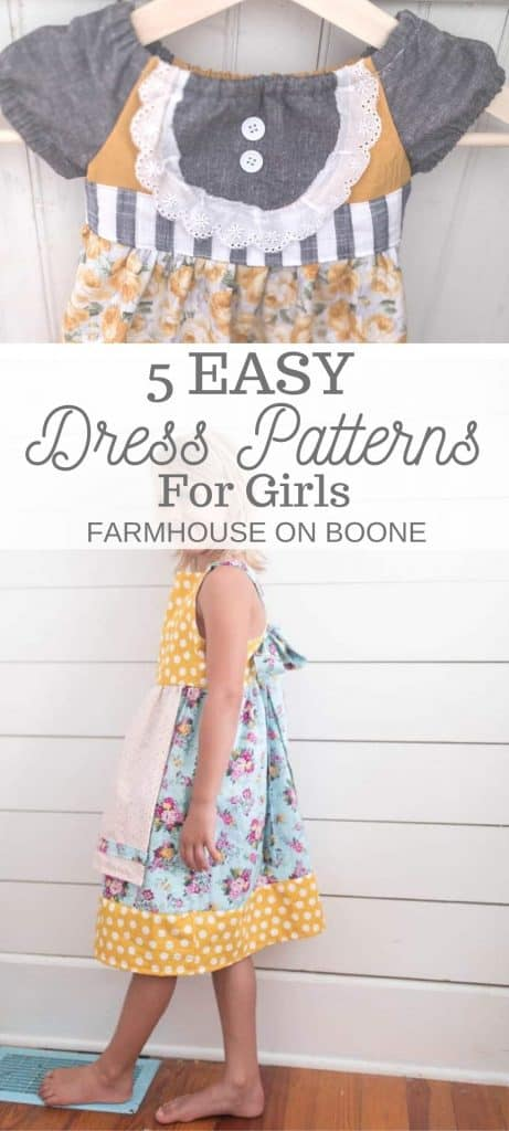 two pictures of homemade dress - 5 easy dress patterns for girls