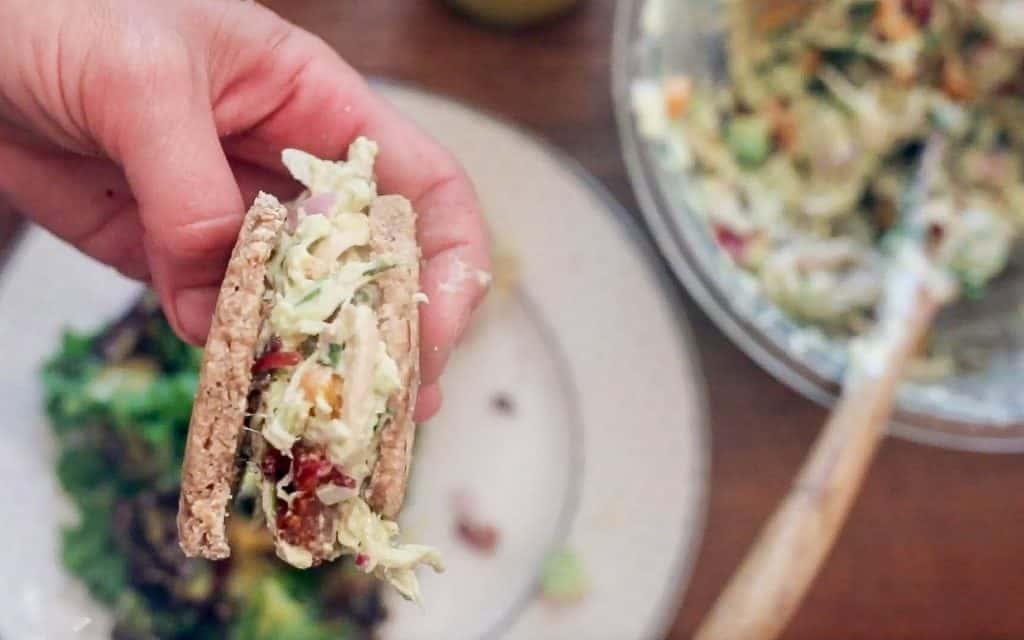 southwest chicken salad sandwiches on sourdough English muffins.