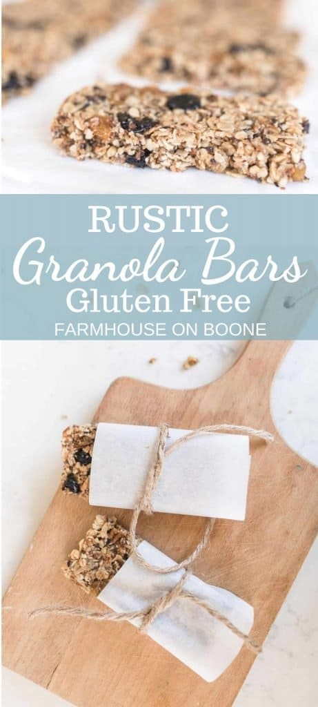 two pictures of gluten free granola bars with parchment paper.