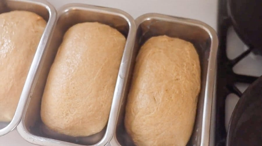 three loaves of whole wheat sourdough bread