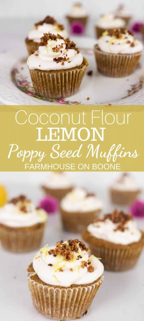 lemon poppy seed muffins topped with whipped cream, lemon zest and toasted coconut