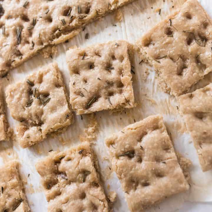 sourdough focaccia cut up into squares on parchment paper
