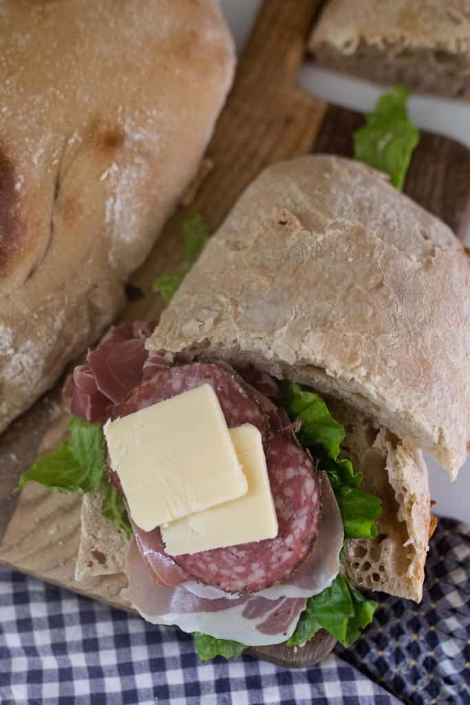 salami and cheese sandwich on sourdough ciabatta bread