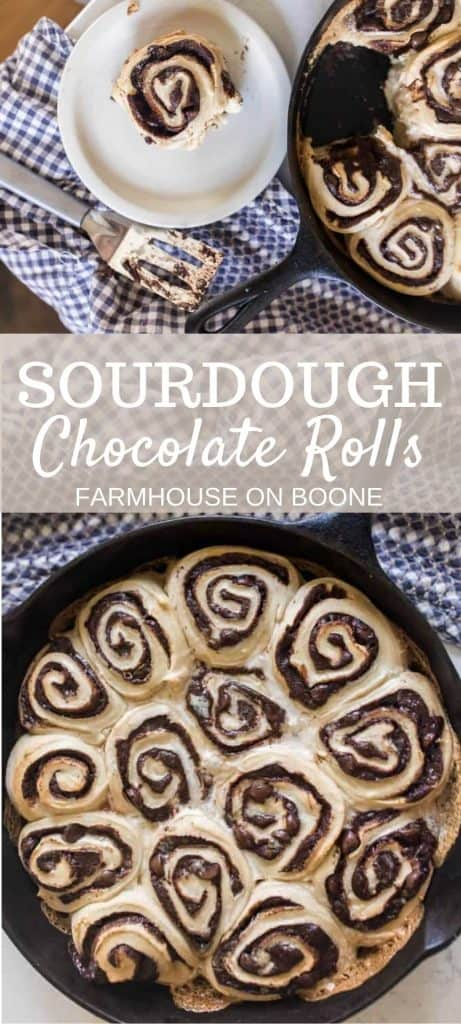 close up picture of sourdough rolls with gooey chocolate swirled into the dough and baked in a cast iron skillet