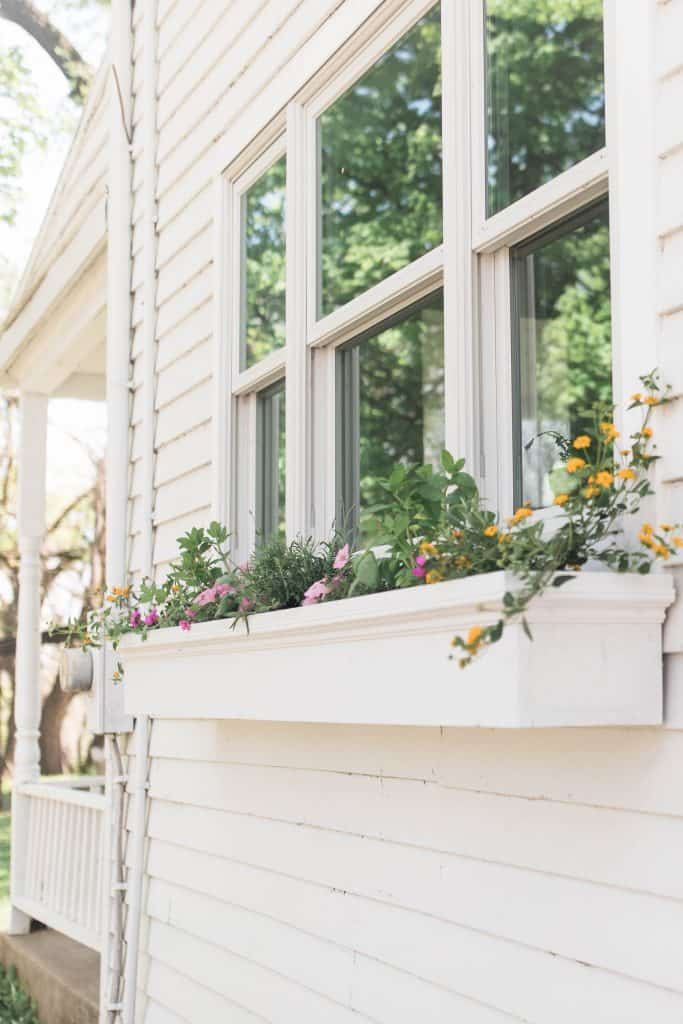 a diy window planter box with yellow and pink flowers hanging below a window on a white farmhouse