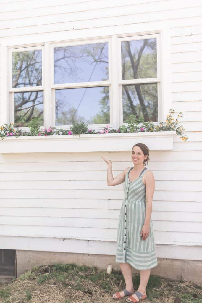 women wearing a green and cream dress pointing to a DIY window box