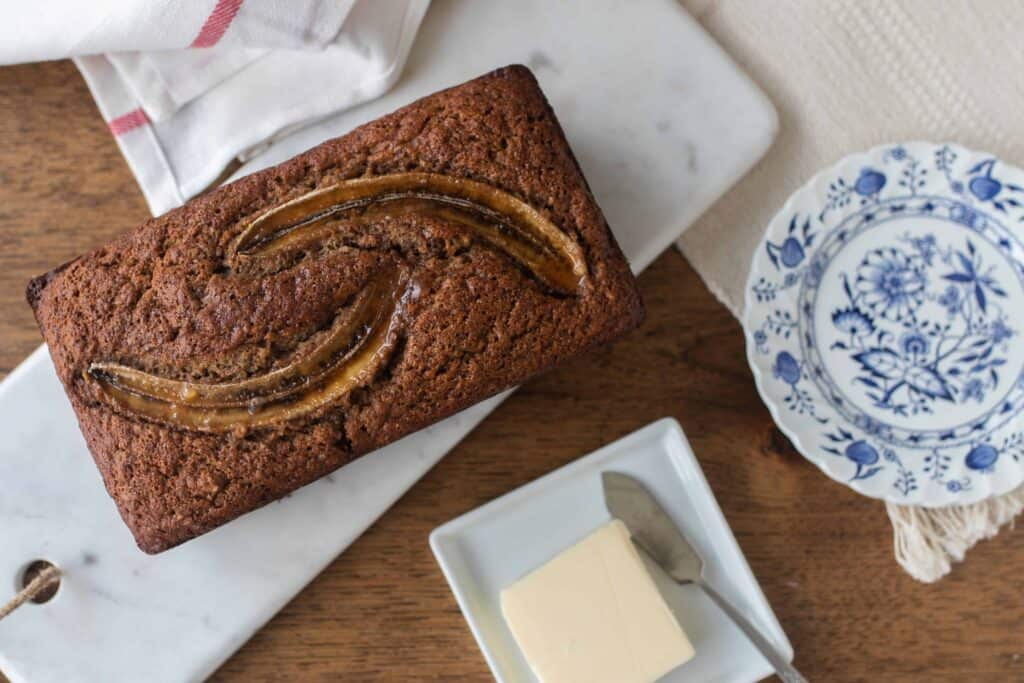 sourdough banana bread on a marble countertop