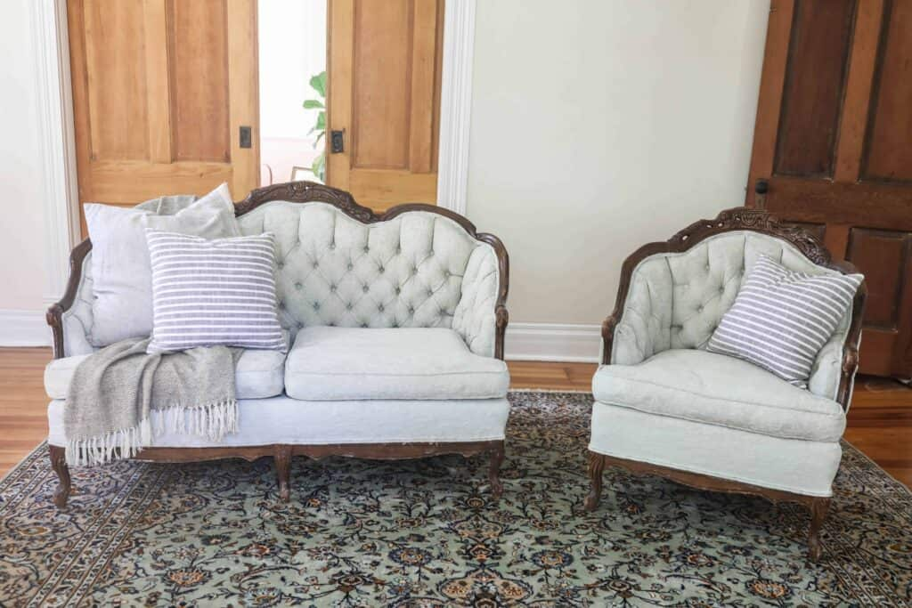 How To Chalk Paint Upholstery Antique Sofa Makeover Farmhouse On Boone