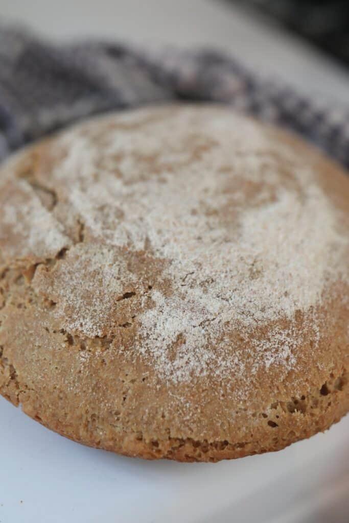 close up of crusty sourdough einkorn bread