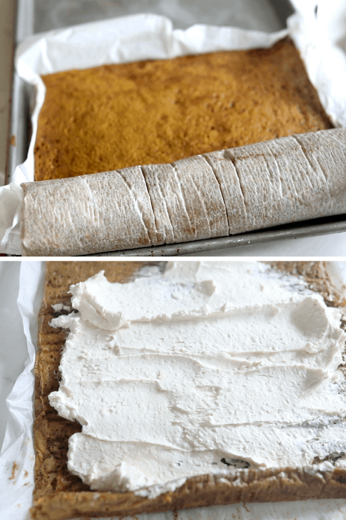 top picture of a unrolled pumpkin cake and the bottom picture is of the cream cheese filling spread across the cake to roll