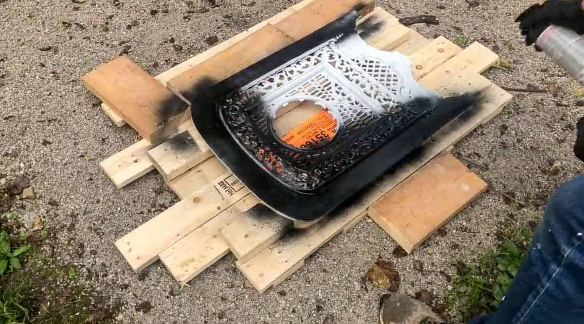 spray painting a fireplace summer cover black