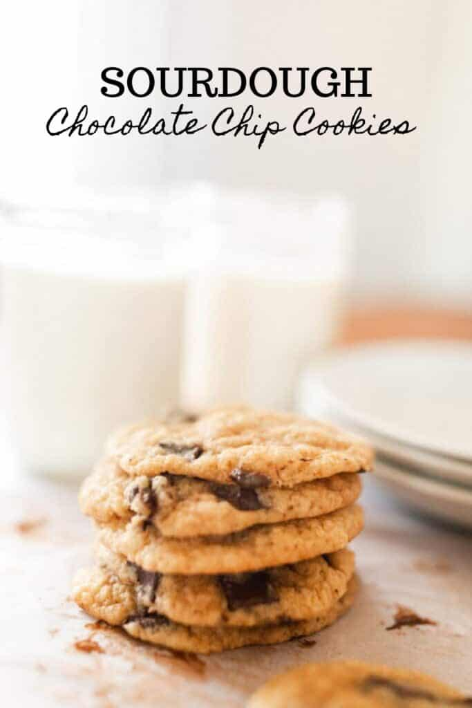 sourdough chocolate chip cookies stacked up with glasses of milk in the background