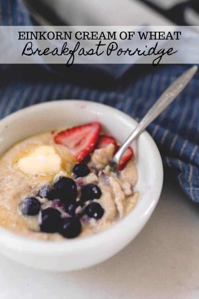 einkorn breakfast porridge in a white bowl topped with fruit
