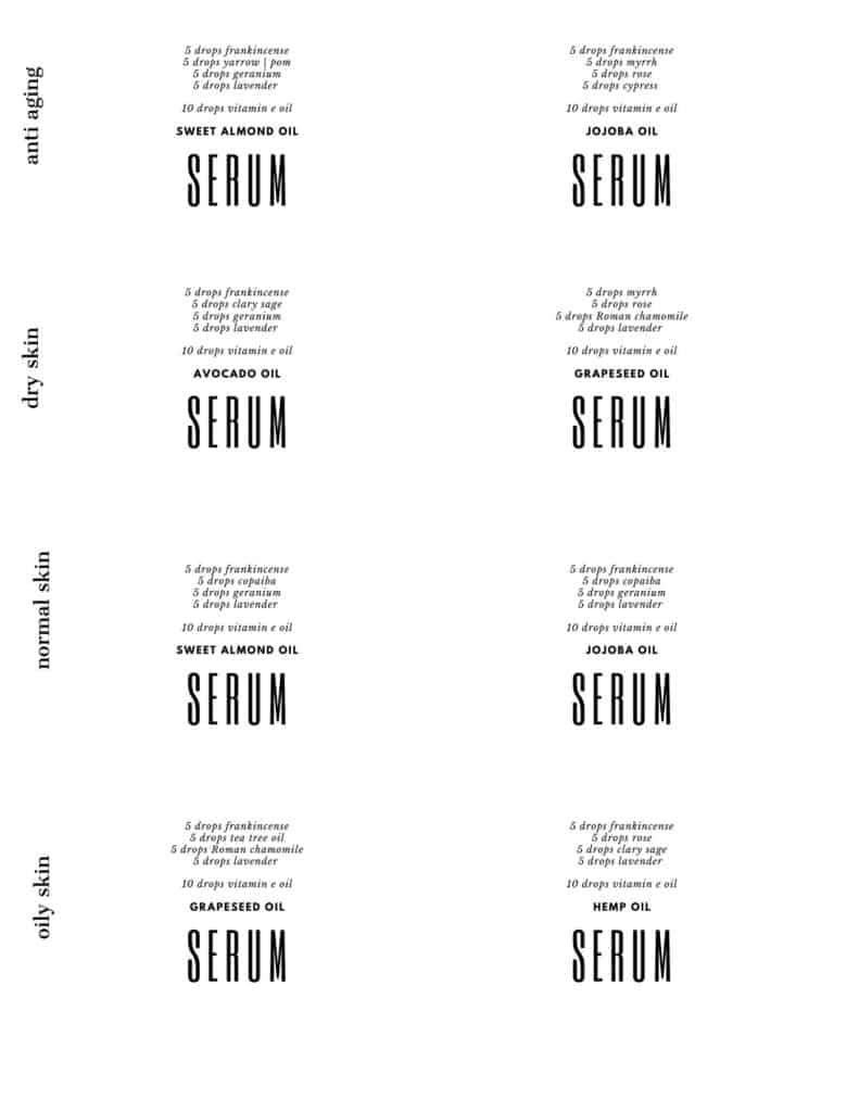 serum label printable