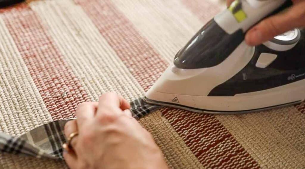 ironing fabric with bias tape