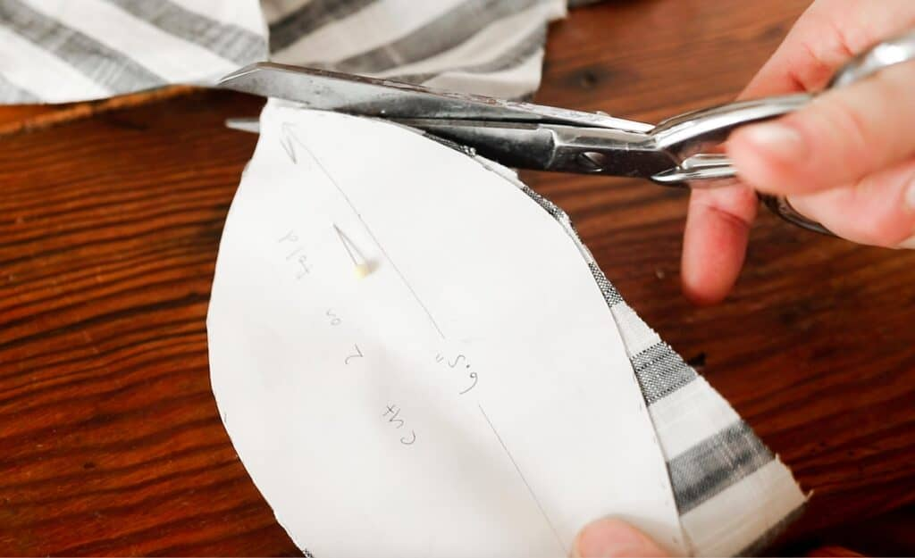 cutting out stripped fabric using a pattern