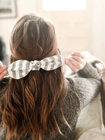 women wearing a stripped DIY scrunch bow