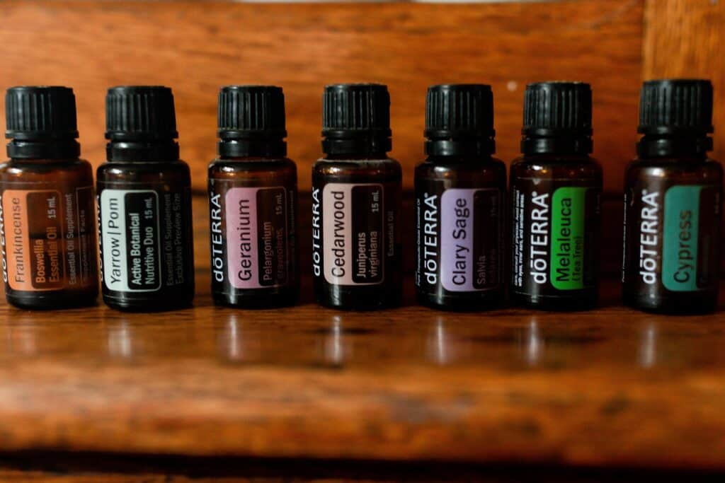 doterra essential oils on a wood cabinet