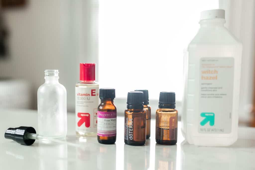 DIY face toner ingredients on a white countertop