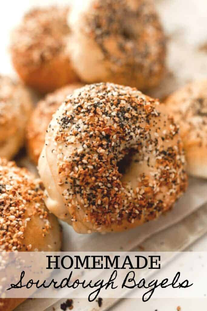 everything sourdough bagels on a baking sheet with more bagels stacked in the background