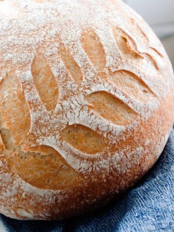 no knead sourdough bread loaf with leaf design on a white countertop with a dark blue towel