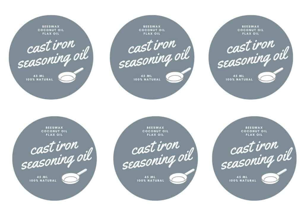 printable cast iron seasoning oil labels