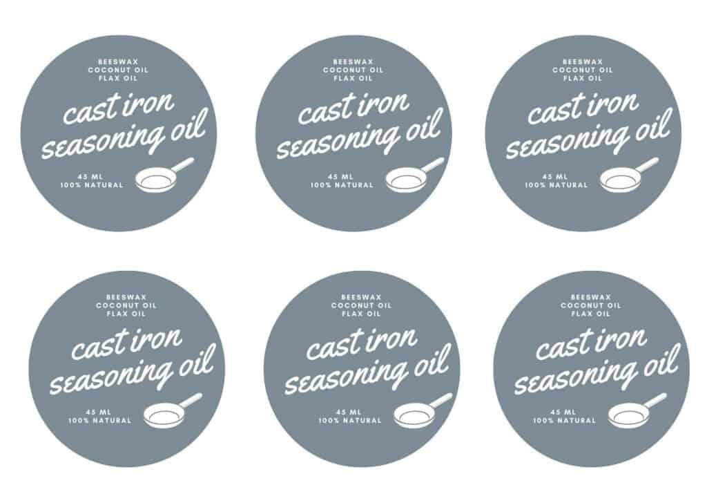 printable cast iron seasoning oil labels
