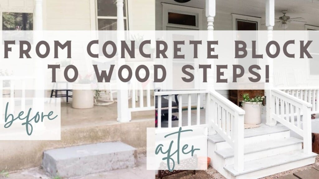 before and after picture of a victorian front porch makeover with wooden stops and railings added.