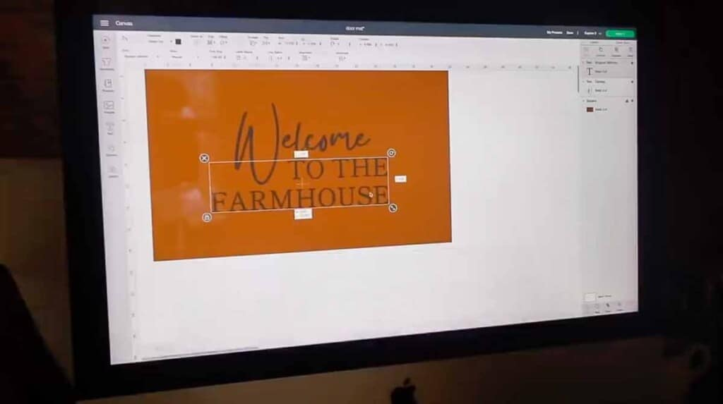 Cricut design being created on the computer